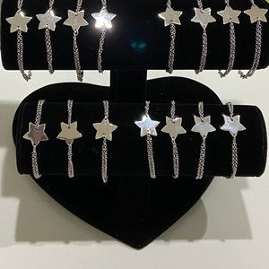 Sterling Silver Lot Of 15 Star Bracelets